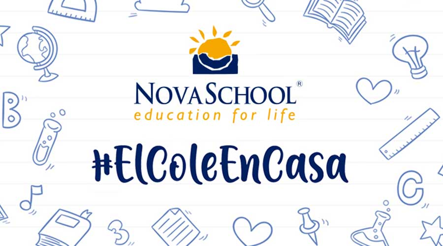 Logotipo del grupo educativo Novaschool con el Hashtag #ElColeEncASA