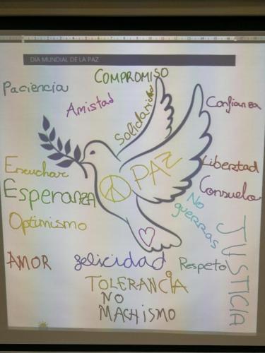 Paloma y mensajes de la Paz